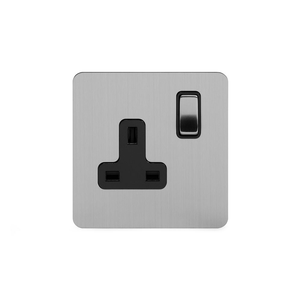 Soho Premium Flat Plate Brushed Chrome & Black Insert