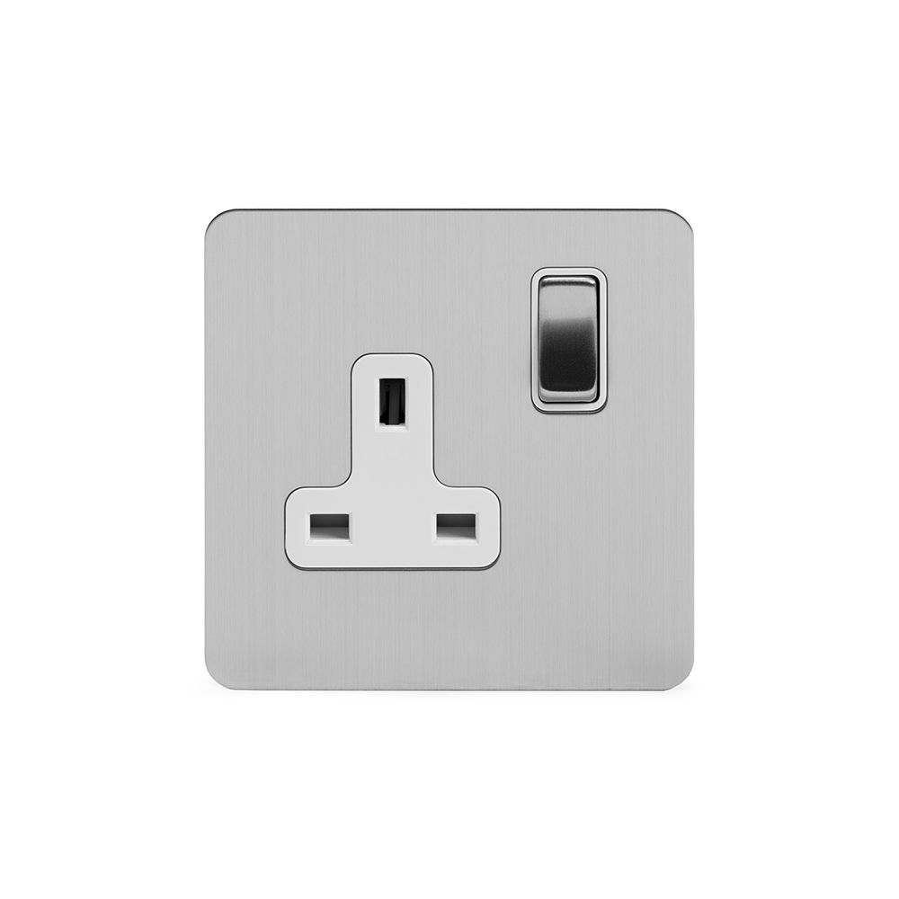 Soho Premium Flat Plate Brushed Chrome & White Insert