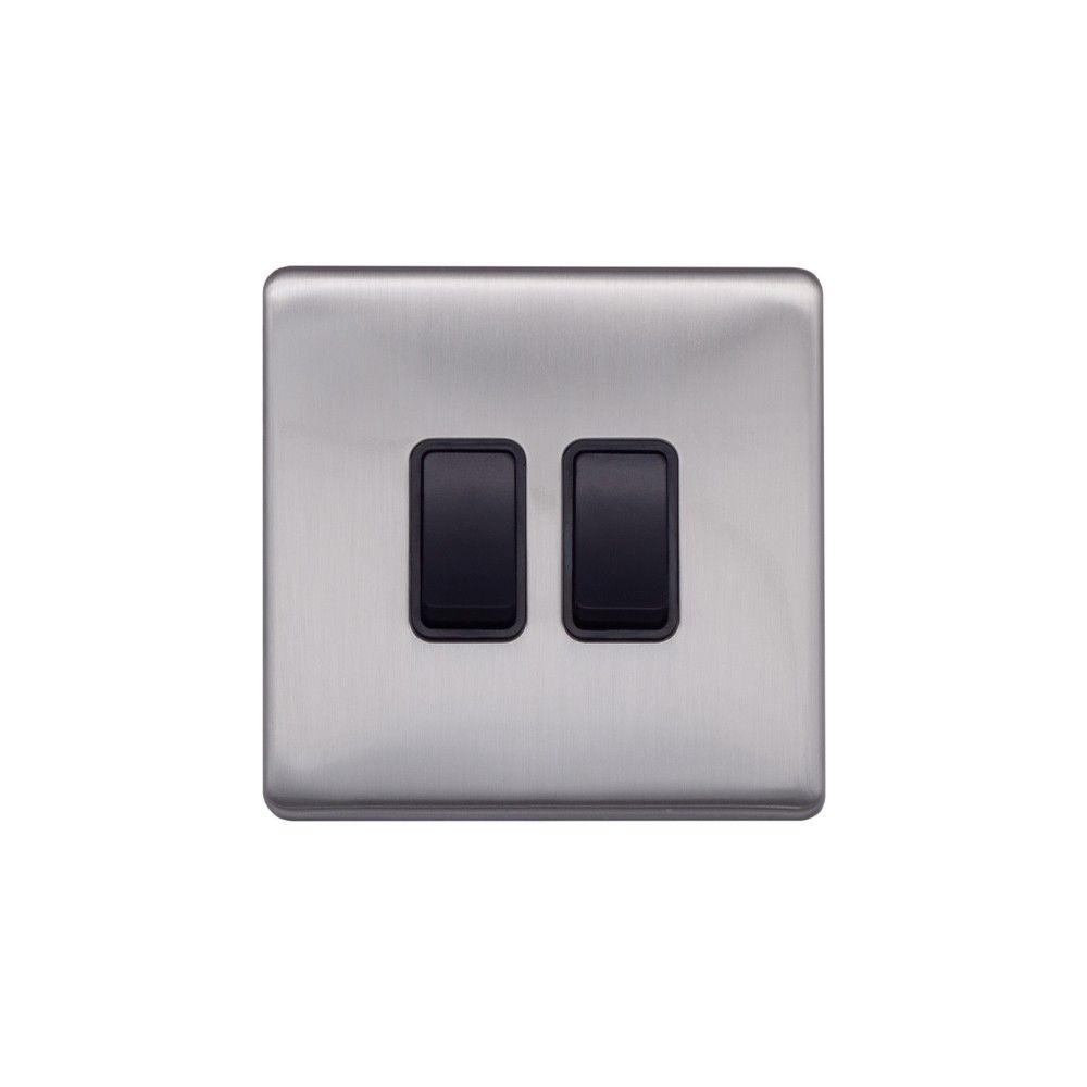 Brushed Chrome & Black Sockets & Switches