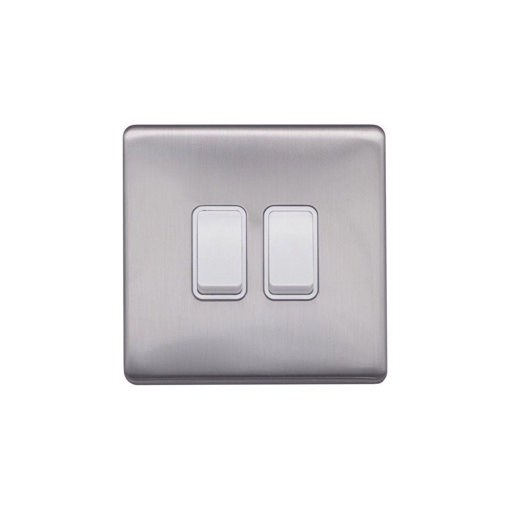 Brushed Chrome & White Sockets & Switches