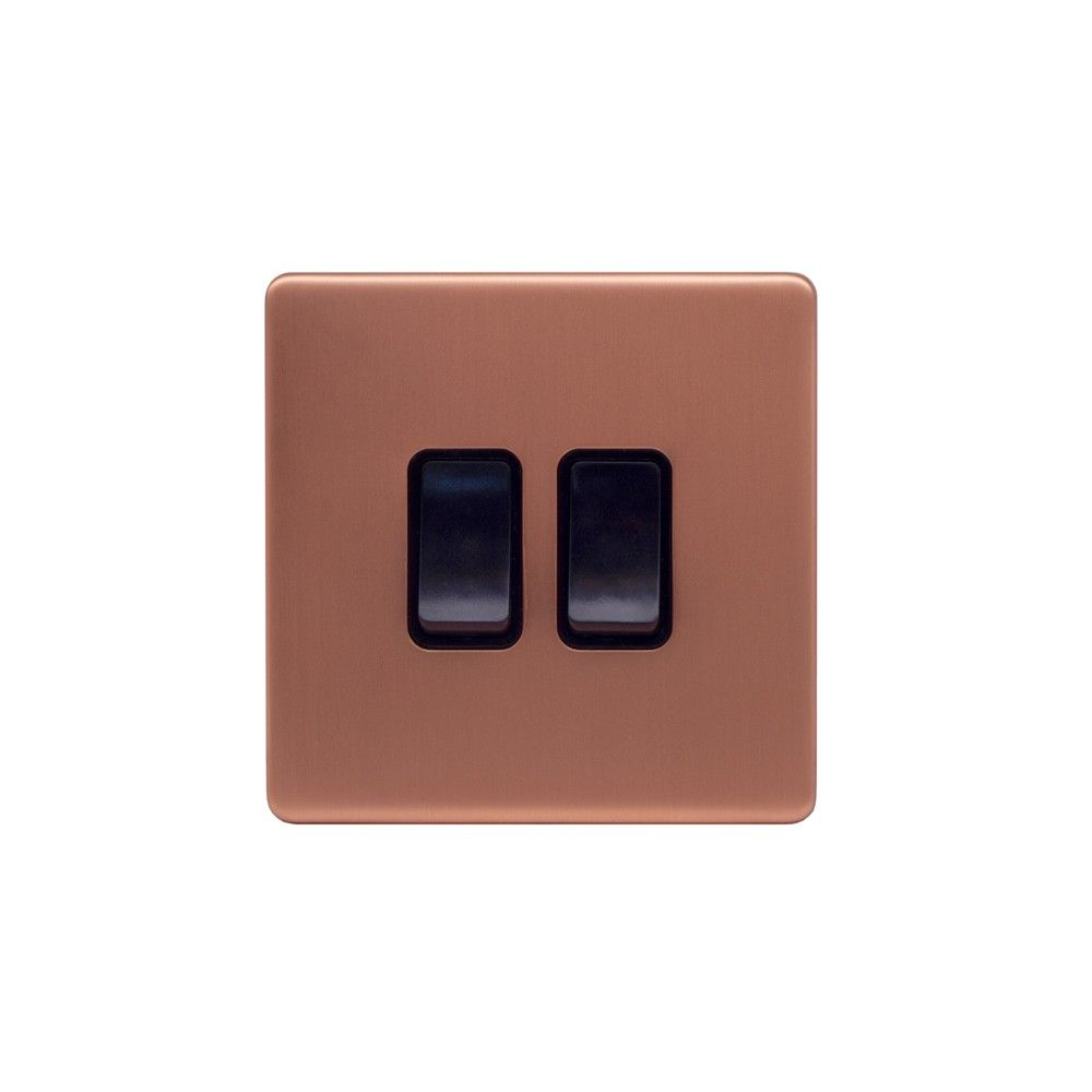 Brushed Copper & Black Sockets & Switches