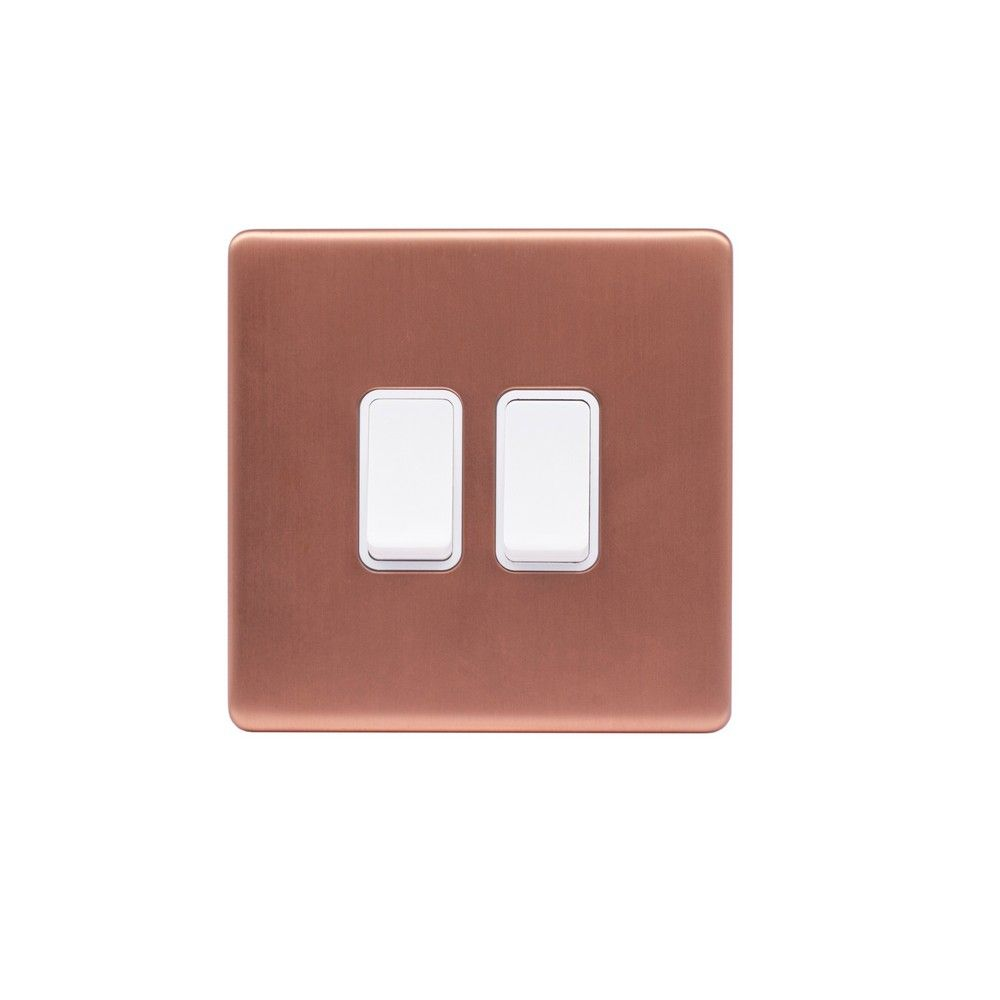Brushed Copper & White Sockets & Switches