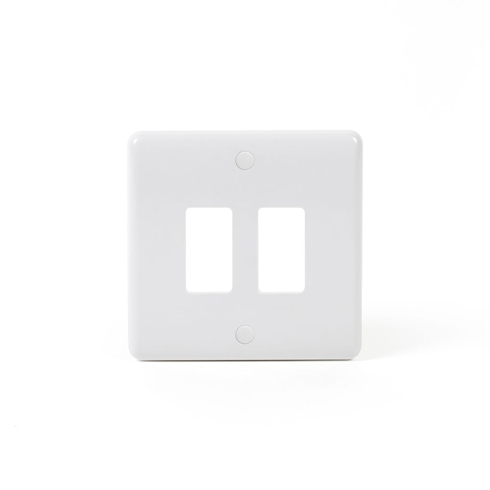 White Plastic Grid Plates and Switches