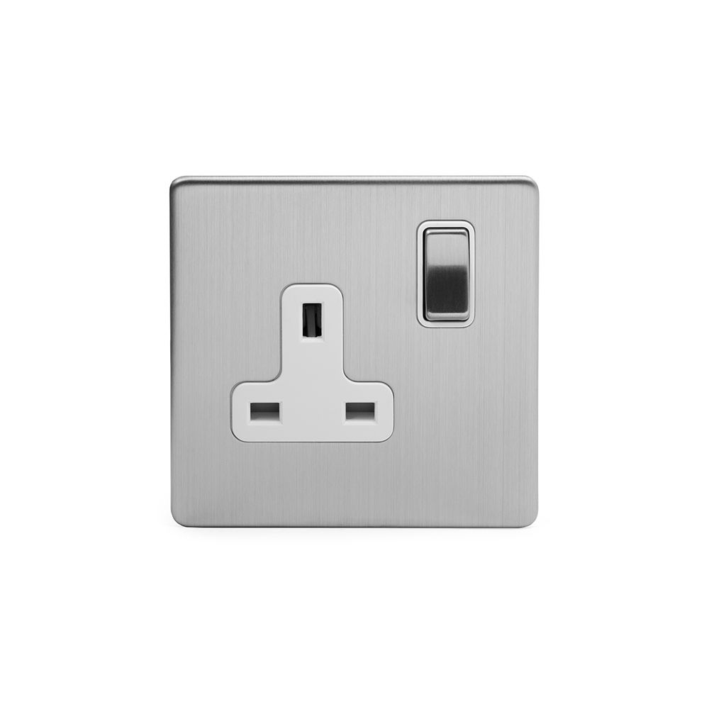 Soho Premium Traditional Plate Brushed Chrome & White Insert