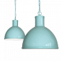 Duck Egg Blue Turquoise Industrial Hallway Pendant Light - Wardour - Soho Lighting