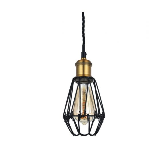 Denman Industrial Black Caged Teardrop Pendant Light - Soho Lighting