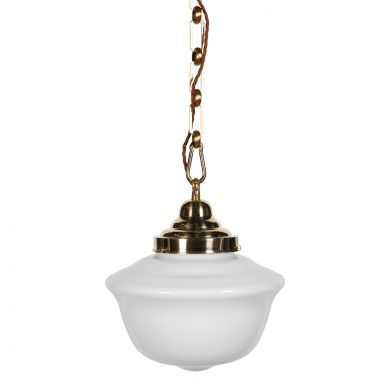 Frith Brass Opaque Retro Glass Pendant Light