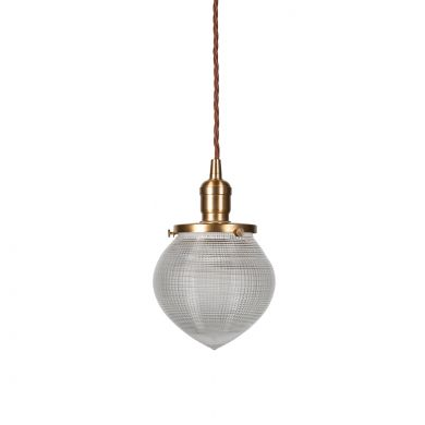 The Hollen Acorn Brass Prismatic Glass Arts and Crafts Style Pendant Light