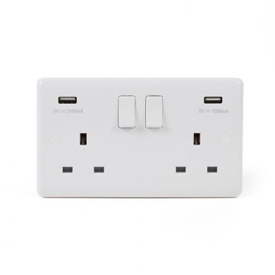 White Double Wall Socket With USB | White Double Socket With USB