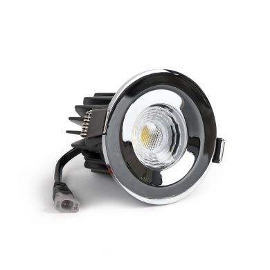Polished Chrome Fire Rated Fixed LED Downlights Dimmable