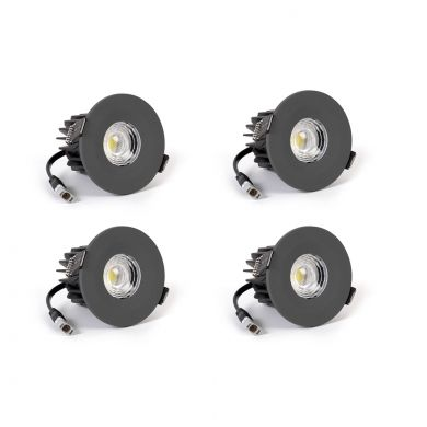 4 Pack - Graphite Grey CCT Fire Rated LED Dimmable 10W IP65 Downlight