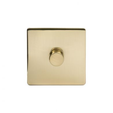 24k Brushed Brass 1 Gang 2 Way Trailing Dimmer Switch with Black Insert