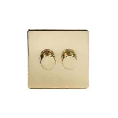 24k Brushed Brass 2 Gang 2 Way Trailing Dimmer Switch with Black Insert