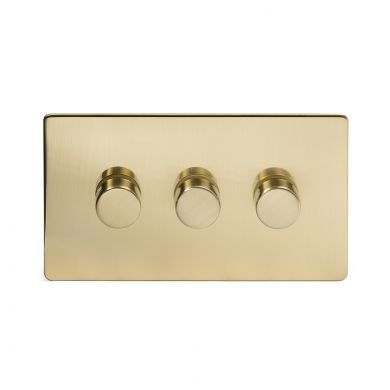 24k Brushed Brass 3 Gang 2 Way Trailing Dimmer Switch with Black Insert