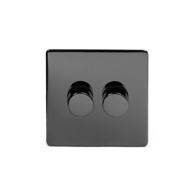 Black Nickel 2 Gang 2 Way Trailing Dimmer Switch with Black Insert