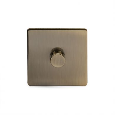 Antique Brass 1 Gang 2 Way Trailing Dimmer Switch with Black Insert
