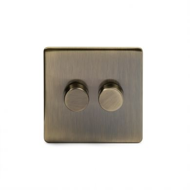 Antique Brass 2 Gang 2 Way Trailing Dimmer Switch with Black Insert