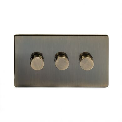 Antique Brass 3 Gang 2 Way Trailing Dimmer Switch with Black Insert