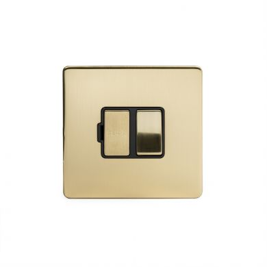 24k Brushed Brass metal plate 13A Switched Fuse Connection Unit with black insert