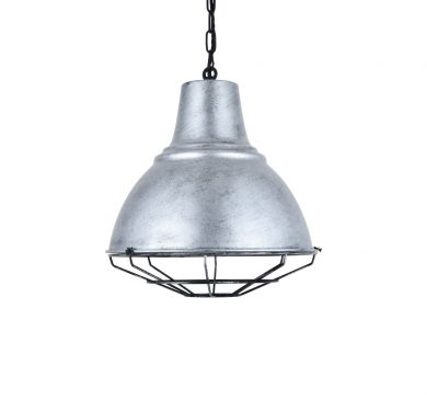 Compton Black Brushed White Caged Bell Pendant Light