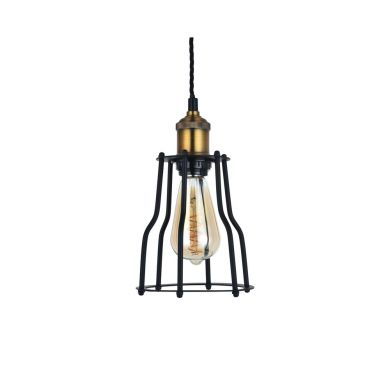 Denman Cone Black Cage Pendant Light