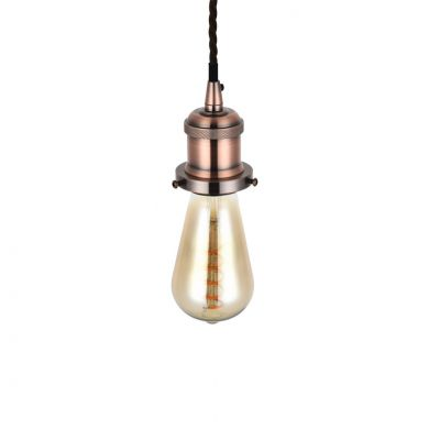 Edison Red Copper Pendant Bulb Holder With Twisted Dark Brown Cable