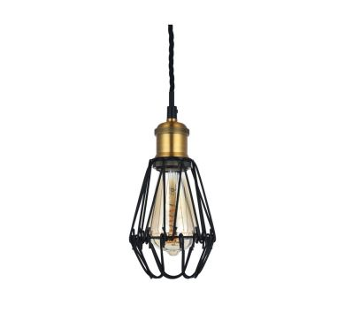 Denman Industrial Black Caged Teardrop Pendant Light