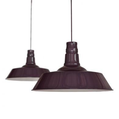 Mulberry Red Burgundy Industrial Dining Room Pendant Light - Large Argyll - Soho Lighting
