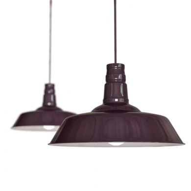Mulberry Red Burgundy Industrial Pendant Light - Argyll - Soho Lighting