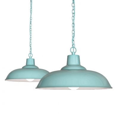 Portland Reclaimed Style Industrial Pendant Light Duck Egg Blue