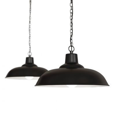Portland Reclaimed Style Industrial Pendant Light Matt Black