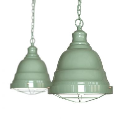 Ganton Vintage Cage Pendant Light Chalk Green