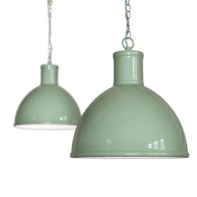 Wardour Industrial Bay Pendant Light Chalk Green