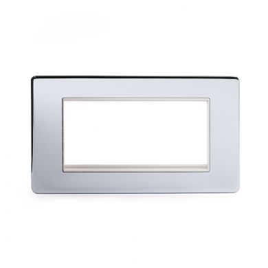 Polished chrome metal plate Double Data Plate 4 Modules with White insert