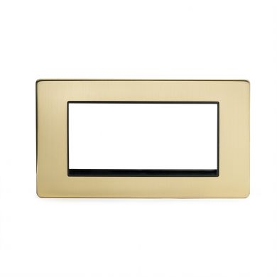 24k Brushed Brass metal Double Data Plate 4 Modules with black insert