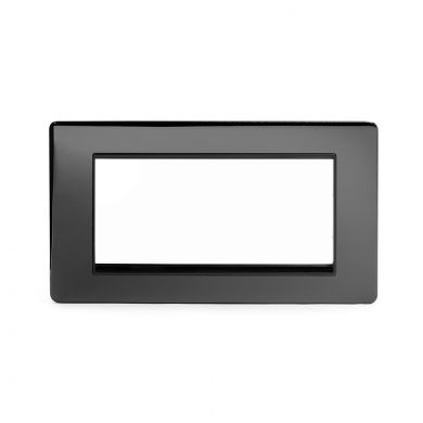 Black Nickel metal Double Data Plate 4 Modules with black insert