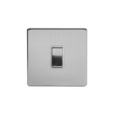 Brushed Chrome 10A 1 Gang 2 Way Switch With White insert