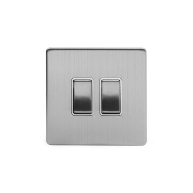 Brushed Chrome 10A 2 Gang 2 Way Switch With White insert