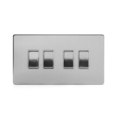 Brushed Chrome 10A 4 Gang 2 Way Switch With White insert