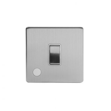 Brushed Chrome 1 Gang 20 Amp Switch Flex Outlet with White Insert