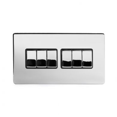 Polished Chrome 6 Gang 2 Way Switch with Black Insert