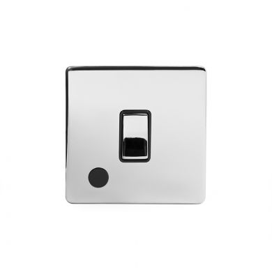Polished Chrome 1 Gang Flex Outlet 20 Amp Switch with Black Insert