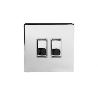 Polished Chrome 10A 2 Gang 2 Way Switch With White insert