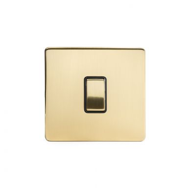 24k Brushed Brass 10A 1 Gang 2 Way Switch with Black Insert