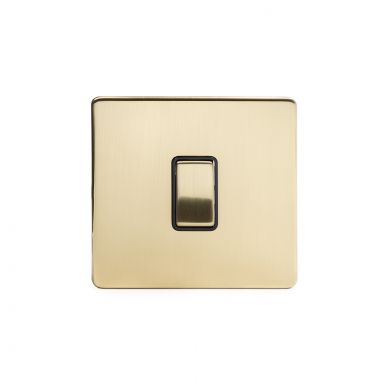 24k Brushed Brass 1 Gang Intermediate Switch with Black Insert