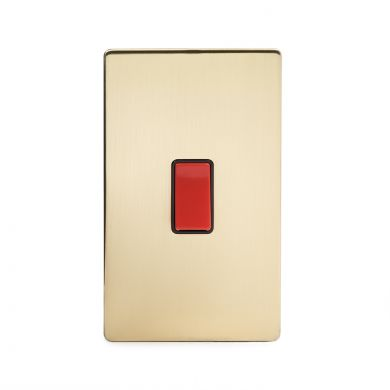 24k Brushed Brass 45A 1 Gang Double Pole Switch, Large Plate
