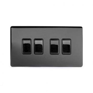 Black Nickel 4 Gang 2 Way Switch with Black Insert