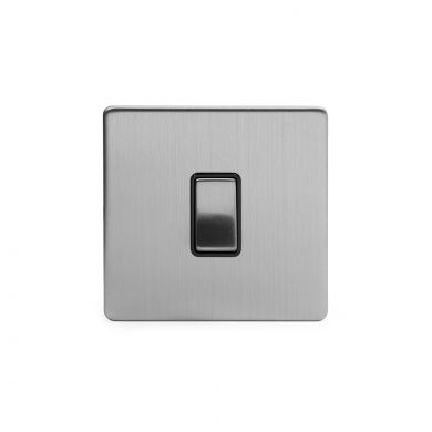 Brushed Chrome 10A 1 Gang 2 Way Switch with Black Insert