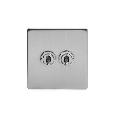 Brushed Chrome 2 Gang 2 Way Toggle Switch with Black Insert