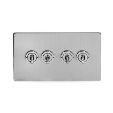 Brushed Chrome 4 Gang 2 Way Toggle Switch with Black Insert